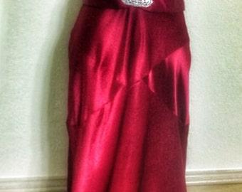 Vintage red satin formal gown