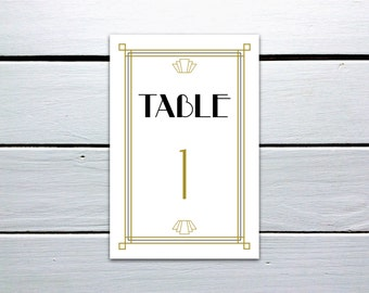 Printable 1920s Great Gatsby Table Numbers 1-24