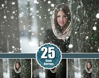 25 snow Photo Overlays, Snowscapes Backdrops, Realistic Snowflakes, Winter Wonderland Photo, Freezelight effect, Christmas Sessions jpg file