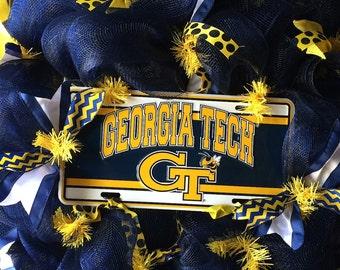 Georgia Tech Wreath~GT Wreath~Navy~Yellow