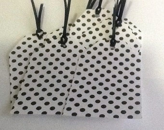 8 Black Polka Dot Gift/Thank You Tags