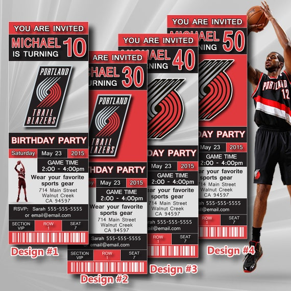Portland Blazers Schedule: Portland Trail Blazers Birthday Invitation Basketball By