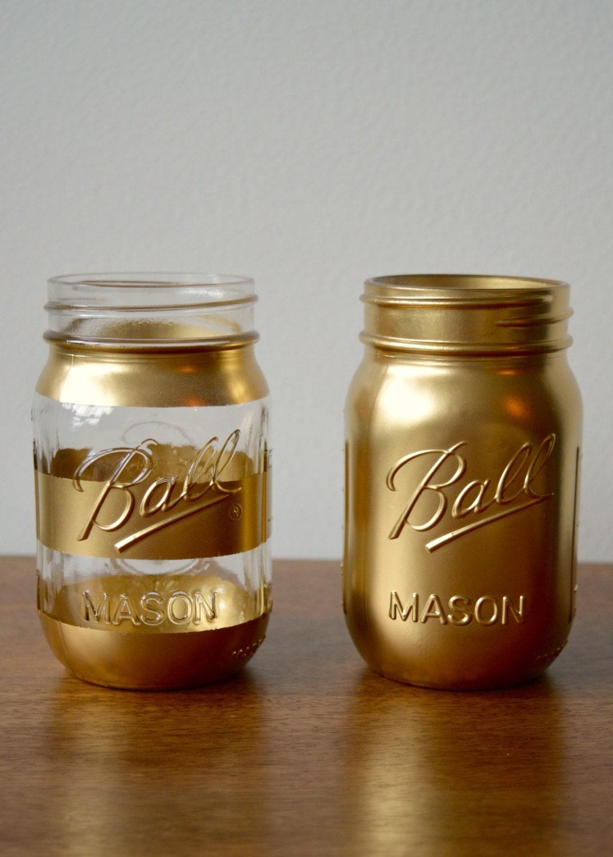Gold Painted Mason Jar Gold Stripe Jar Summer Hipster Gift