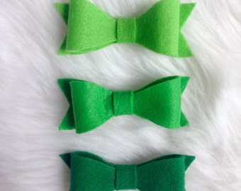 Green Ombre Felt Bows-Set of Three-3 inch-Mini-Headband-Baby-Toddler-Adult