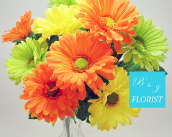 Fall Gerbera Daisy Flowers Bush - Orange Green Yellow - Artificial Silk Flower - Thanksgiving Home Decor
