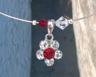 Red & White Crystal Flower Charm Necklace
