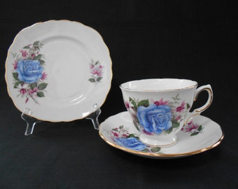 Vintage Royal Vale Bone China Tea Cup & Plate Trio Blue Roses with Pink and White Fushcias  #00019