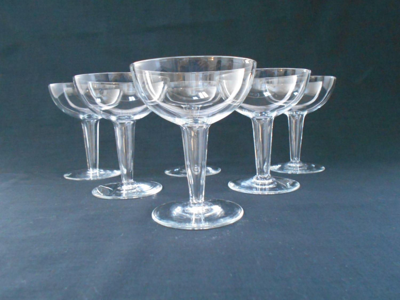 Vintage crystal hollow stem champagne glasses set of six - Champagne flutes hollow stem ...