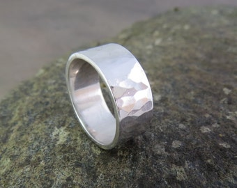 Sterling silver hammered wide band ring