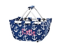 Monogrammed Tote, Monogrammed market tote,monogrammed mini market tote,anchor tote,Tote with Handles,Personalized market tote / MMT01