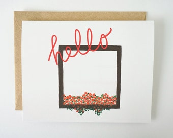Hello card. Thinking of you card. Blank greeting card. All occasion card. Floral card. Just because card.