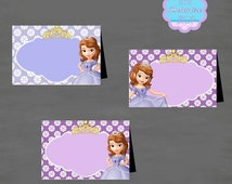 Sofia the First BLANK Food Tent, Tent Card, Place Card DIY PRINTABLE
