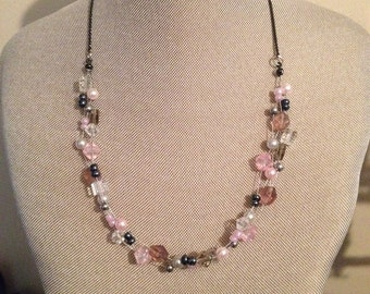 Pink and Grey Floating Necklace