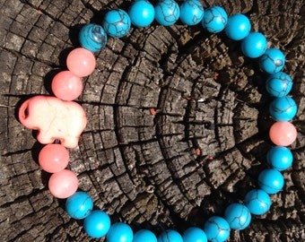 Turquoise and Pink Stone Stretch Bracelet