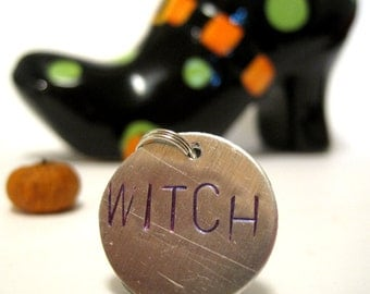 Witch Charm, Witch Pendant, Halloween Jewelry, Witch Jewelry, Halloween Charm, Halloween Necklace, Handstamped, Aluminum Charm, Upcycled Art