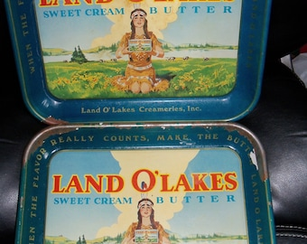 "Vintage Land O' Lakes Sweet Cream Butter 1 1/4"" 10 3/4"" x 13 1/2"" SET OF 2"