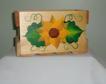 Hand Crafted and Hand Painted Wood Napkin Box.