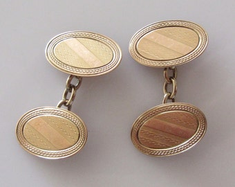 9ct Gold Mens Oval Cufflinks Dated 1928.