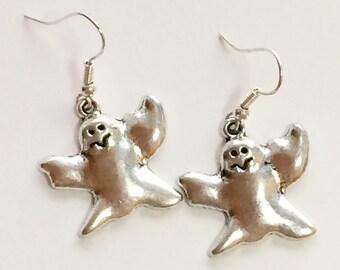 Halloween, ghost, earrings, silver, charm,