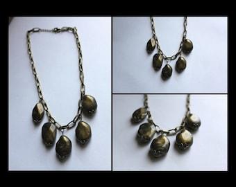 Bronze chunky stone necklace