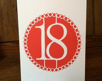 Handmade Paper cut 18th Card