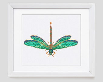 Modern Cross Stitch Pattern instant download PDF | Dragonfly  cross stitch pattern from Leaf Blown Designs