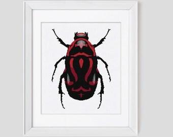 Cross Stitch Pattern, Beetle cross stitch pdf pattern,  Modern cross stitch pattern Red Beetle