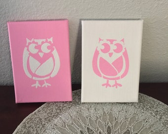 Two Piece Handpainted Owl Canvas Painting