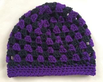 Purple & Black Women's Beanie Hat, Granny Square Beanie, Women's Crochet Hat
