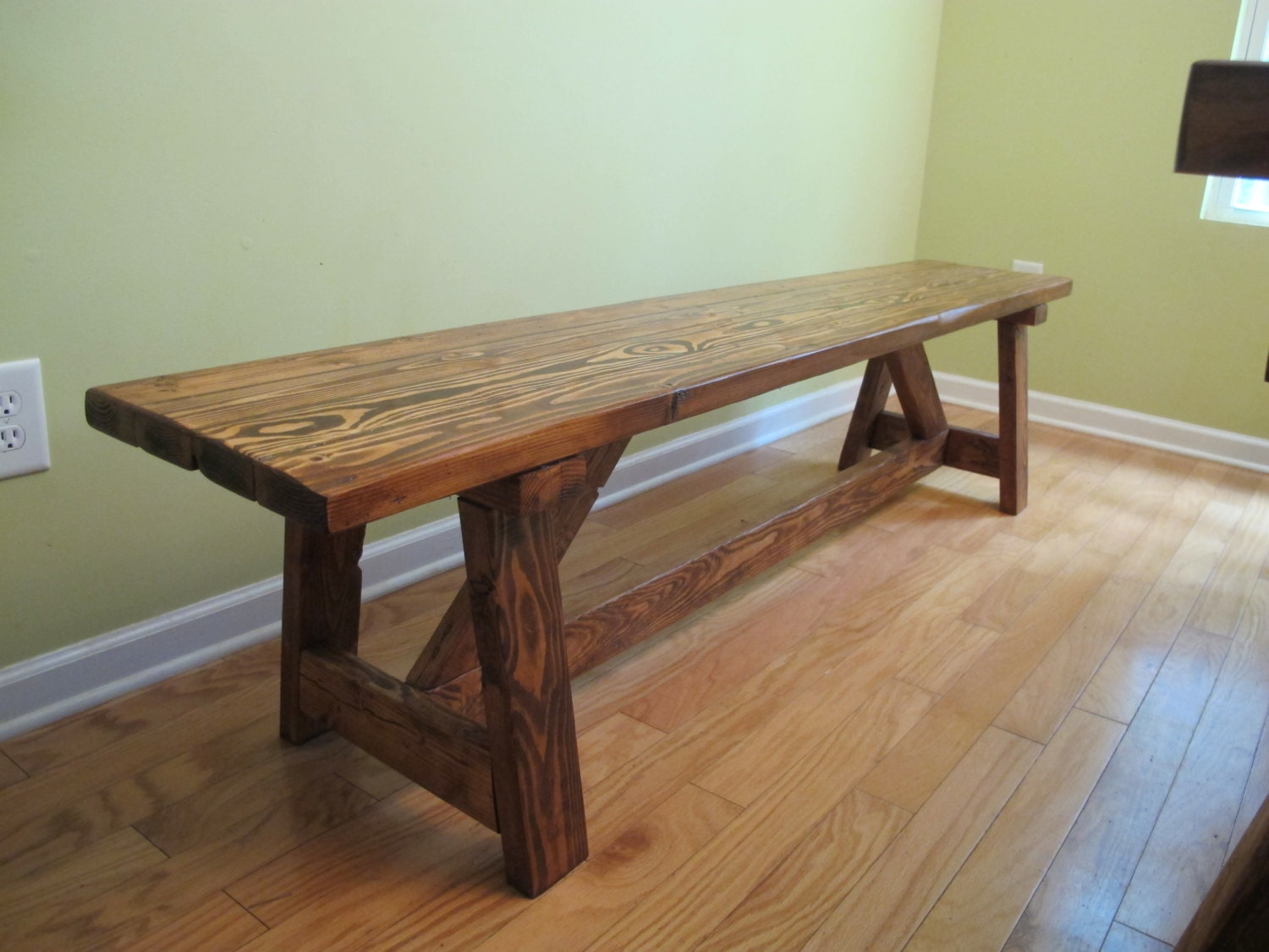 Farmhouse rustic wood bench by ngfoothillsfurniture on etsy
