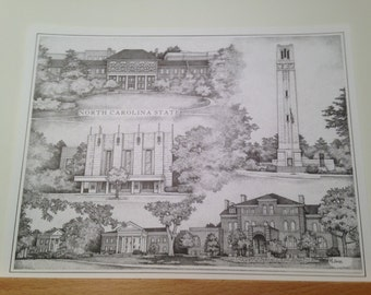 NC State collage print