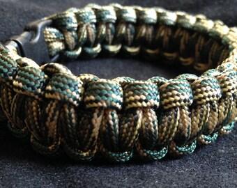 Woodland Camo Homemade Survival Bracelet