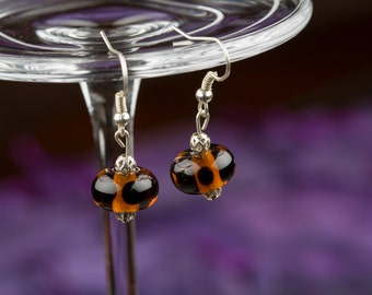 Amber Black Spotted Glass Bead Earrings, Lampwork Beads