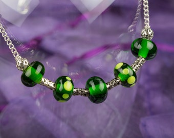 Green Spotted Glass Bead Necklace, Lampwork Beads, Silver Chain