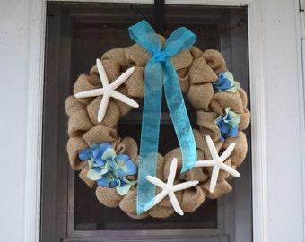 Life's a Beach Burlap Wreath