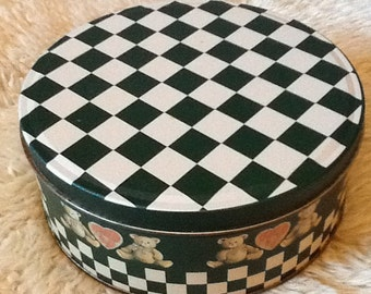 Country Checkerboard and Teddy Bears Gift Tin. Vintage.