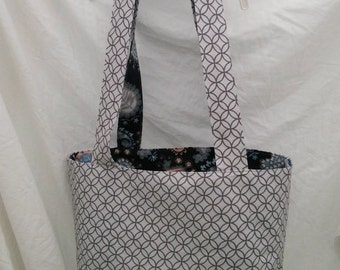 Canvas Tote Book Bag Reversible Grey Blue Paisley