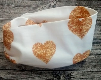 Infinity scarf - hearts gold
