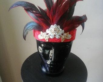 red velvet flapper headpiece