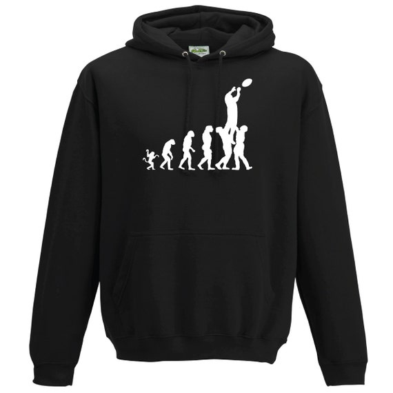 Evolution Rugby Lineout Hooded Sweatshirt.Unisex Long Sleeved Quality Hooded shirt rugby world cup six nations Canada cup gift present USA