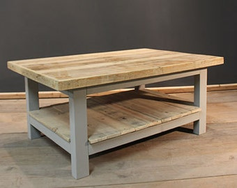 Handmade Rustic Coffee Table with Magazine Shelf.  (The Glynleigh)