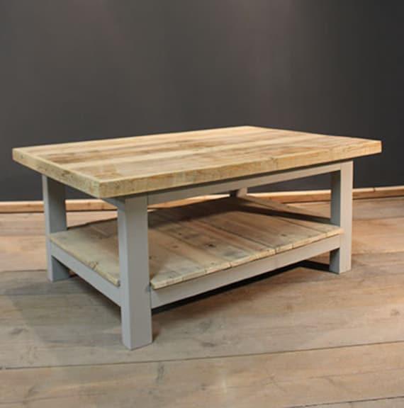 Handmade Rustic Coffee Table With Magazine Shelf. The