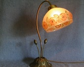 Gooseneck Lamp with Embossed Reverse Painted Glass Shade