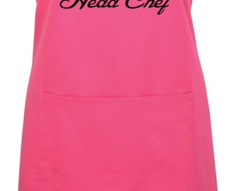 Personalised Head Chef Name Apron With Pocket Gift Present Cooking Baking Christmas
