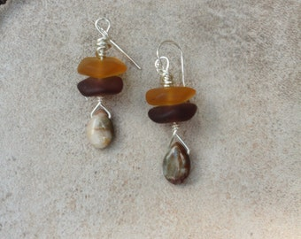 34 Beach stone and earthtone agate stones wrapped in silver plated copper wire with sterling silver ear wires