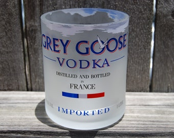 Large 12 FL Oz upcycled Grey Goose glass