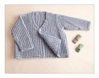 Pdf Knitting Pattern for baby boy or girl/reborn doll cardi, coat, cardigan, jacket, 0-3 months by Angela Turner
