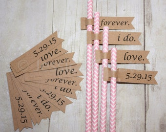 Paper Straw Flags - Custom Flags - Personalized Labels - Straw Flags - Bridal Shower Straws - Special Occasion Straw Flags
