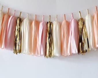 Tassel Garland  //  Blush  //  Peach  //  Gold  //  Baby Shower  //  Bridal Shower  //  Nursery Decoration