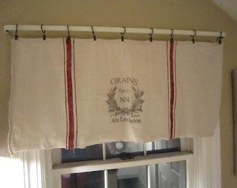 Grain sack inspired window valances